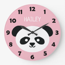 Cute Panda Bear Face Kids Kawaii Personalized Pink Large Clock