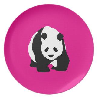 Cute Panda Bear Hot Pink Fuchsia Zoo Wildlife Gift Party Plates
