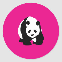 Cute Panda Bear Hot Pink Fuchsia Zoo Wildlife Gift Round Sticker