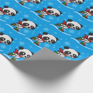 Cute Panda Bear Ice Skating Snow Christmas Kid's Wrapping Paper