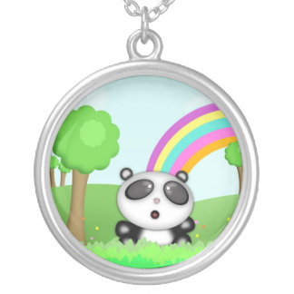 Cute Panda Bear in a colorful scene with rainbow Round Pendant Necklace
