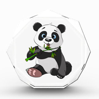 cute,panda bear,kids,animated,happy, eating bamboo acrylic award
