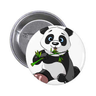 cute,panda bear,kids,animated,happy, eating bamboo 2 inch round button