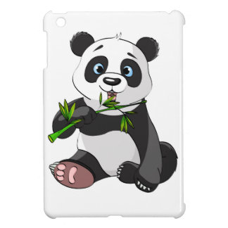 cute,panda bear,kids,animated,happy, eating bamboo iPad mini cover