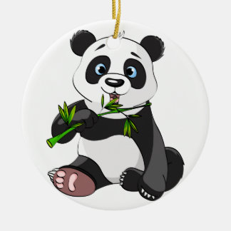 cute,panda bear,kids,animated,happy, eating bamboo Double-Sided ceramic round christmas ornament