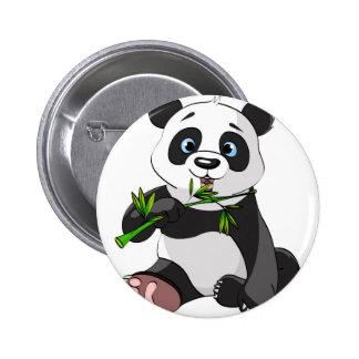 cute,panda bear,kids,animated,happy, eating bamboo pinback button