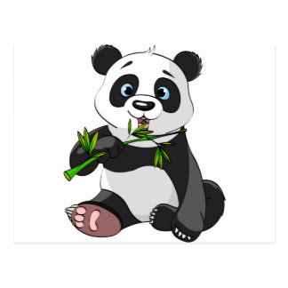 cute,panda bear,kids,animated,happy, eating bamboo postcard