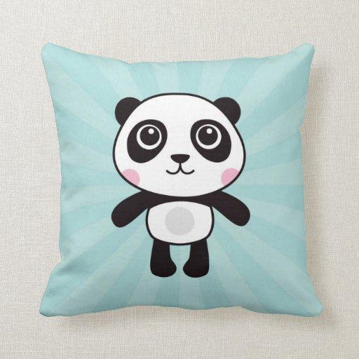 Cute Aqua Throw Pillows : Cute panda bear on aqua blue sunburst background throw pillow Zazzle