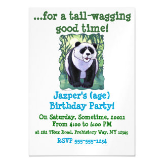 Cute Panda Bear on Green Birthday Party Invitation