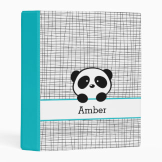 Cute Panda Bear Personalized Aqua Black Animal Mini Binder