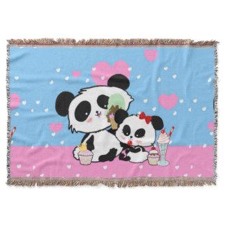 Cute Panda bear picnic throw blanket