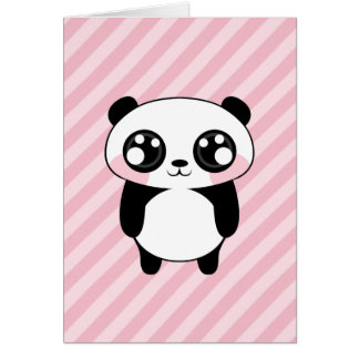 Cute Panda Bear Pink Stripes Background Card