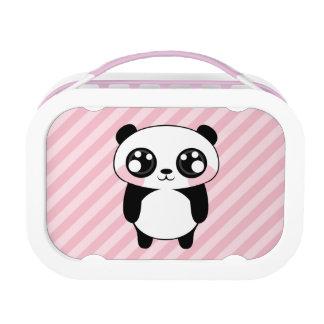 Cute Panda Bear Pink Stripes Background Lunch Box