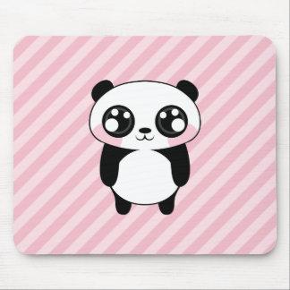 Cute Panda Bear Pink Stripes Background Mouse Pad