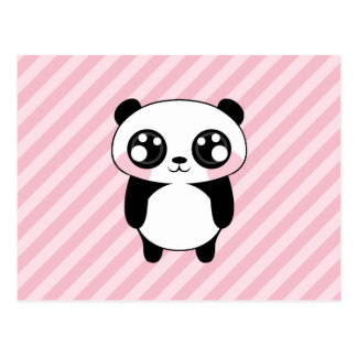 Cute Panda Bear Pink Stripes Background Postcard