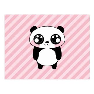 Cute Panda Bear Pink Stripes Background Postcard