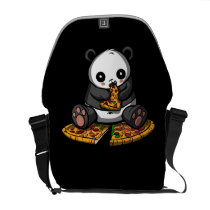 Cute Panda Bear Pizza Lover Animal Messenger Bag