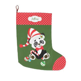 Cute Panda Bear Polkadot Large Christmas Stocking