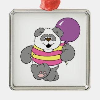 Cute Panda Bear with Balloon Square Metal Christmas Ornament