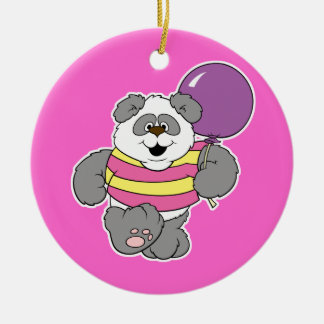 Cute Panda Bear with Balloon Double-Sided Ceramic Round Christmas Ornament