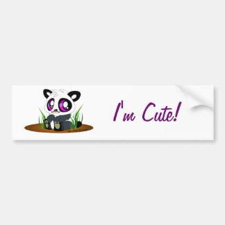 Cute panda bear with mustache on bumper sticker car bumper sticker