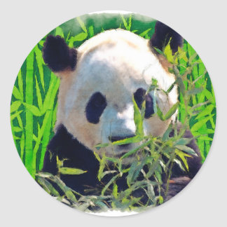 Cute Panda Bear with tasty Bamboo Leaves Classic Round Sticker