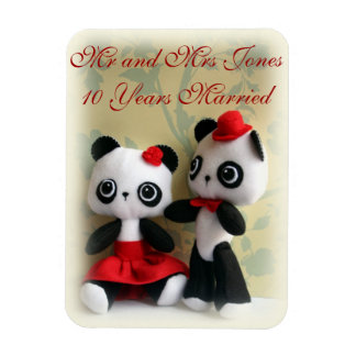 Cute Panda Bears Couple Anniversary  Magnet