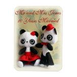 Cute Panda Bears Couple Anniversary  Magnet Vinyl Magnets