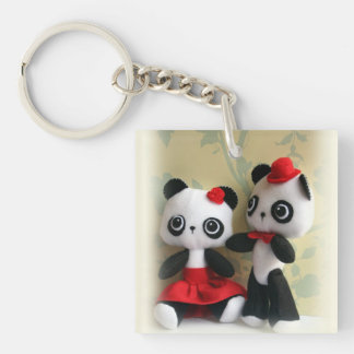 Cute Panda Bears Couple Key Chain