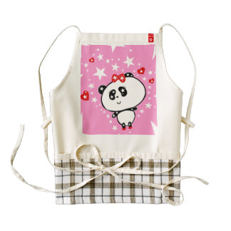 Cute Panda Bears Funny Personalized Zazzle HEART Apron