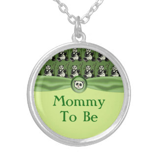 Cute Panda Bears, Green Baby Shower Silver Plated Necklace