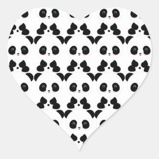 Cute Panda Bears Heart Sticker