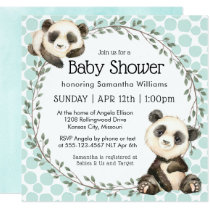 Cute Panda Bears Square Baby Shower Card