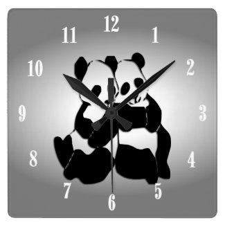 Cute Panda Bears Square Wall Clock