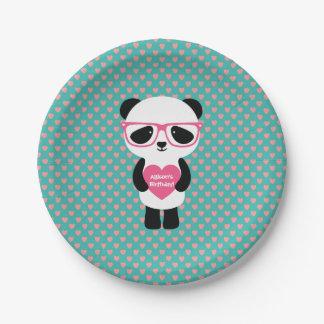 Cute Panda Birthday 7 Inch Paper Plate