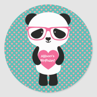 Cute Panda Birthday Classic Round Sticker