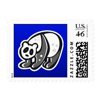 Cute Panda; Blue Stamps