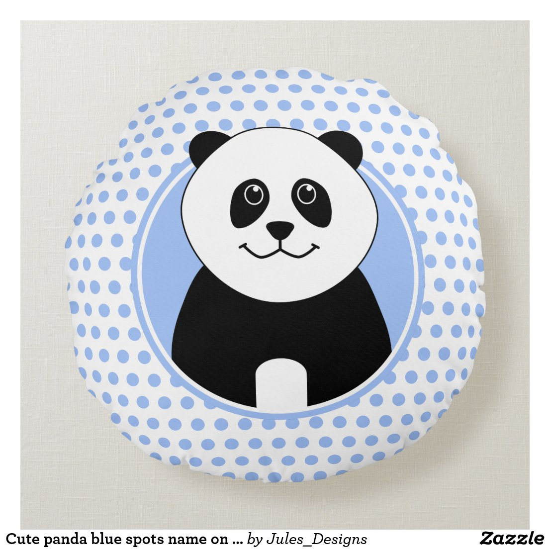 Cute panda blue spots name on back round pillow