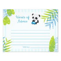 Cute Panda Boy Baby Shower Words of Advice Cards