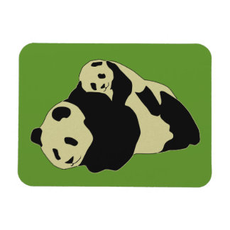 Cute Panda Cuddling With Baby Cub Rectangle Magnets