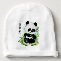 Cute Panda custom name baby beanie