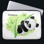 "Cute Panda custom name laptop sleeves<br><div class=""desc"">You can customize the background color to any color you wish. See my store for more items with this image.</div>"