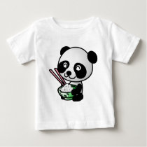 Cute Panda Eating Rice from Bowl with Chopsticks Baby T-Shirt