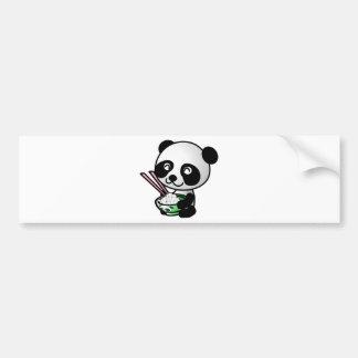 Cute Panda Eating Rice from Bowl with Chopsticks Bumper Sticker