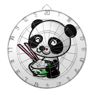 Cute Panda Eating Rice from Bowl with Chopsticks Dartboard With Darts