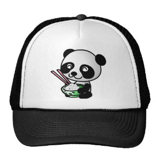 Cute Panda Eating Rice from Bowl with Chopsticks Trucker Hat