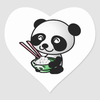 Cute Panda Eating Rice from Bowl with Chopsticks Heart Sticker