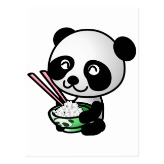 Cute Panda Eating Rice from Bowl with Chopsticks Postcard
