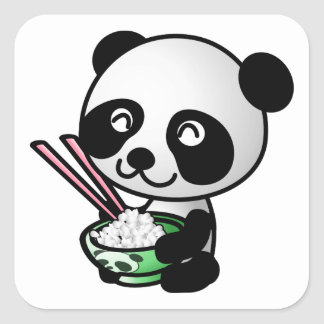 Cute Panda Eating Rice from Bowl with Chopsticks Square Sticker