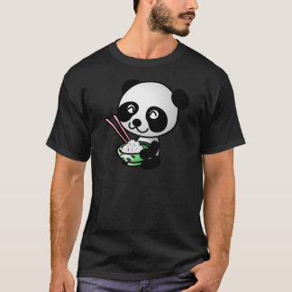 Cute Panda Eating Rice from Bowl with Chopsticks T-Shirt